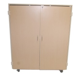 75 Slot Mobile Folio Cabinet w/ Doors - MAPLE